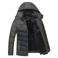 2017 Plus Velvet Casual Men Coats Thick Winter Jacket Man Detachable Hat High Collar Outerwearoat Middle