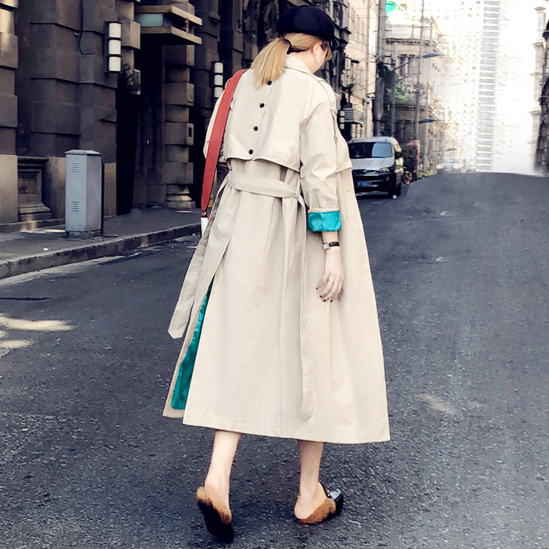2019 Fashion Back Button Women Hot   Trench   Coat Cuff Patchwork Solid Color Sashes Female Windbreaker Lapel