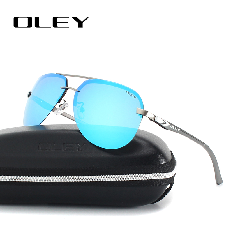 OLEY Aluminum Magnesium Polarized Sunglasses Men Driver Mirror Sun glasses Male Fishing Female Eyewear For Men YA143