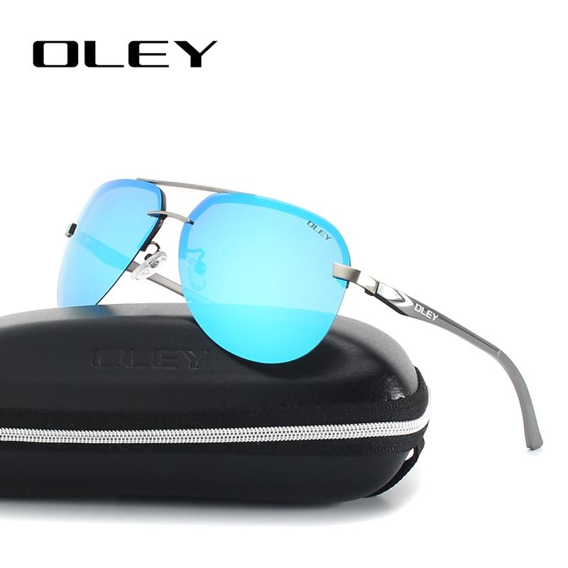 OLEY Aluminium Magnesium Gepolariseerde Zonnebril Mannen Driver Spiegel zonnebril Mannelijke Vissen Vrouwelijke Eyewear Voor Mannen YA143