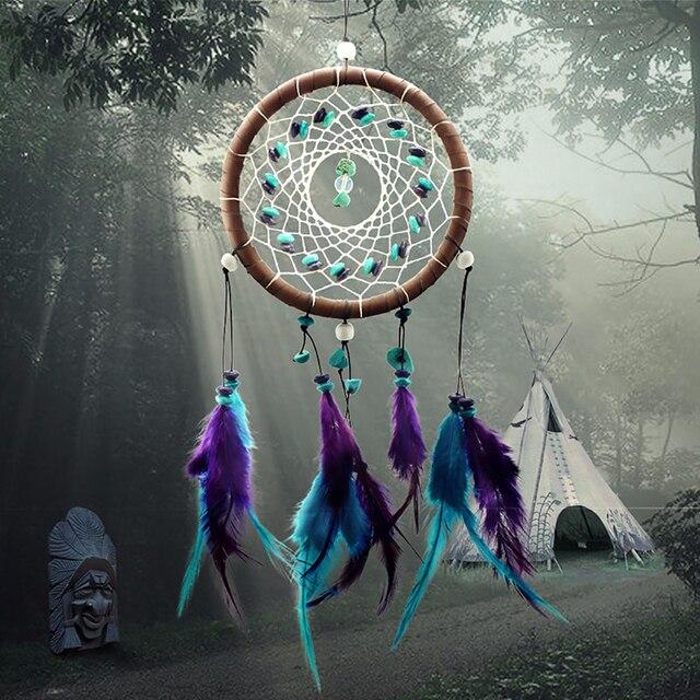 Vintage Zauberwald Dream Catcher Net Mit Blau Lila Feder Traumfänger  Windspiele Wand Hängende Dekoration Handwerk Gif