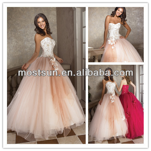pink sweetheart prom dress tulle flowers