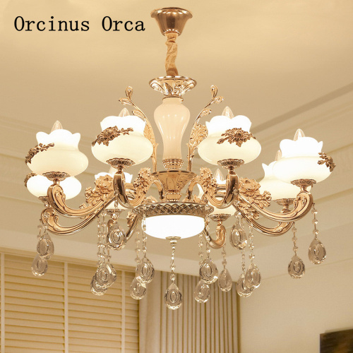 European zinc alloy chandelier living room dining room bedroom French luxury LED gold crystal chandelier free shippingEuropean zinc alloy chandelier living room dining room bedroom French luxury LED gold crystal chandelier free shipping