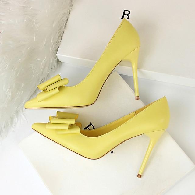 2018 Woman Fetish 10cm High Heels Scarpins Shoes Female Blue Pink Yellow  Escarpins Heels Talons Stiletto Wedding Valentine Pumps 17695aad605c