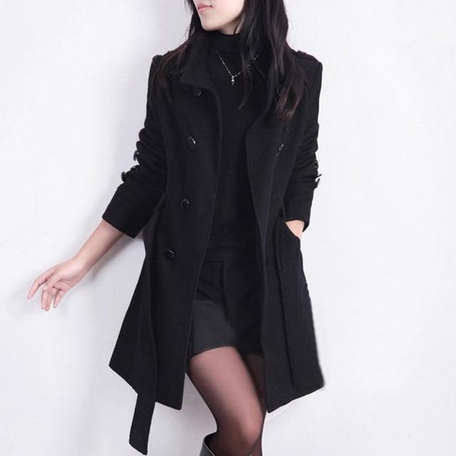 2016 New Women Double Breasted Overcoat Trench Woolen Coat Winter SlimWinter Coats Long Outerwear for Women