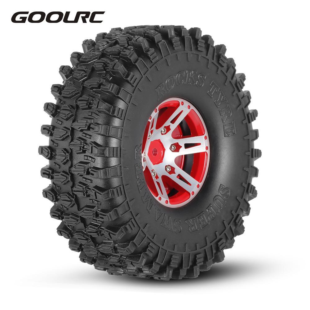 GoolRC 4Pcs AX-5020B 1.9 Inch 1/10 Rock Crawler Tires with Metal Hub for Traxxas Redcat SCX10 AXIAL RC Car 4pcs rc crawler 1 10 wheel rims beadlock alloy 1 9 metal rims rock crawler wheel hub parts for rc car traxxas rc4wd scx10 cc01