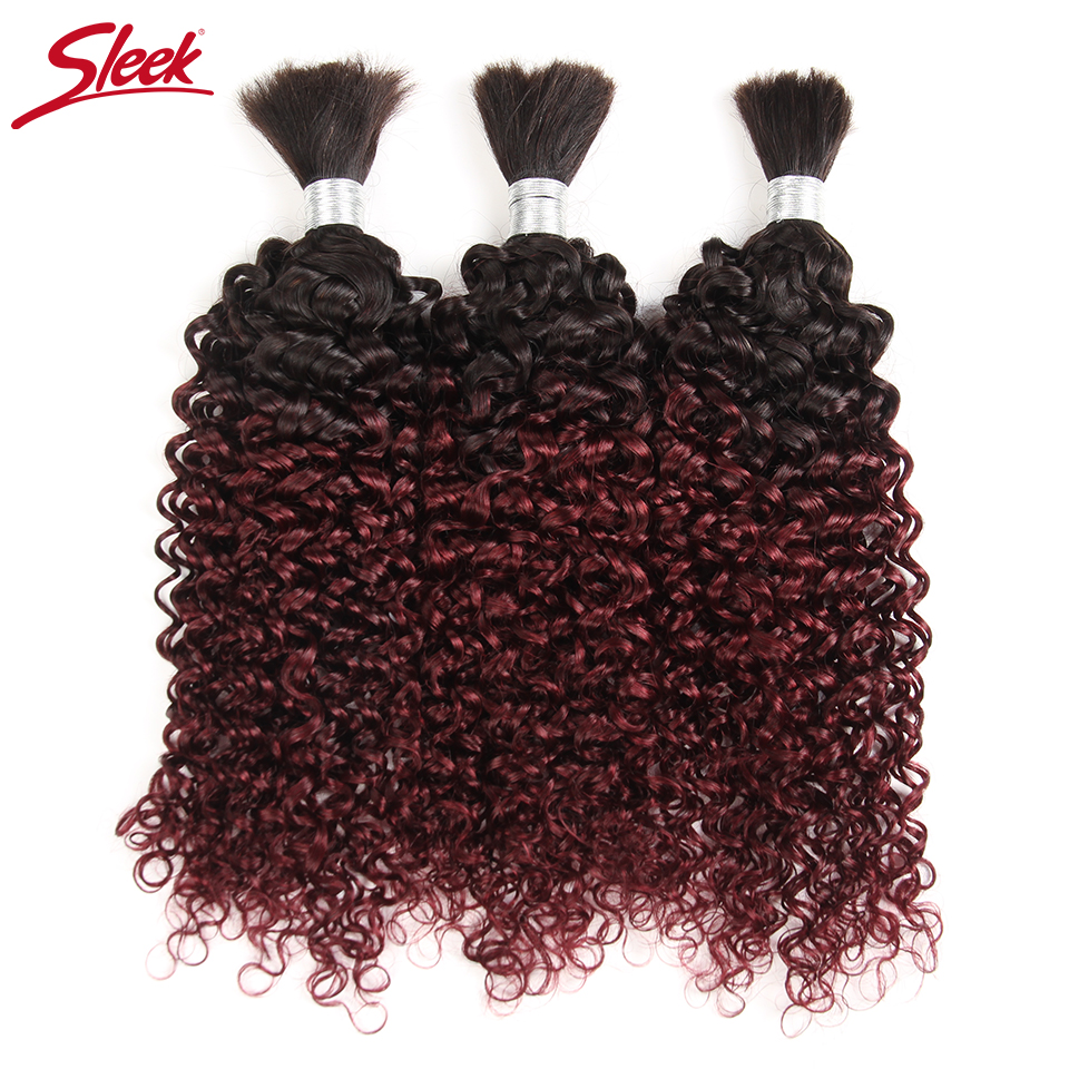 Sleek Hair No Weft Remy Peruvian Curly Human Bulk Hair For Braiding 3 Bundles Human Hair Crochet Braids Ombre 99J Free Shipping
