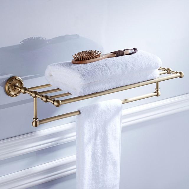 Wall Mounted Brass Antique Double Tier Towel Racks Holder Towel ...