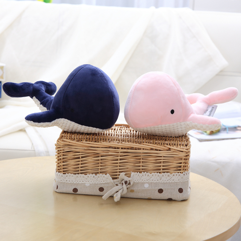 1pc 20cm New <font><b>Blue</b></font> Pink <font><b>Whale</b></font> <font><b>Plush</b></font> Toys Cartoon Stuffed Soft Animal Toy Kawaii Fish Birthday Christmas Gift for Children Girls image