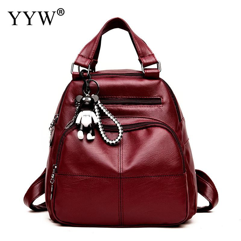 YYW 2018 Vintage Bag Pack Leather Backpack Retro Zipper Soft Surface Rucksack Black Red Sac A Dos Mochila Feminina YYW 2018 Vintage Bag Pack Leather Backpack Retro Zipper Soft Surface Rucksack Black Red Sac A Dos Mochila Feminina