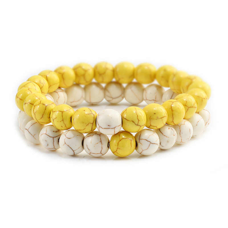 Creative Male Bangles Set Bracelets For Couples White And Yellow Natural Turquoises Beads Men Wristband Jewelry Gift For Women