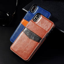 Vertikale Flip Karte Halter Leder Telefon Fall Für iPhone 11 6 6S Plus X XR XS Max Retro Abdeckung für iPhone 7 8 Plus Brieftasche Pouch(China)