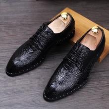 Новый роскошный мужские этап бальные платья реальные кожаные заклепки обувь острым носом молодых плоским оксфорд обуви весна осень дышащий zapato