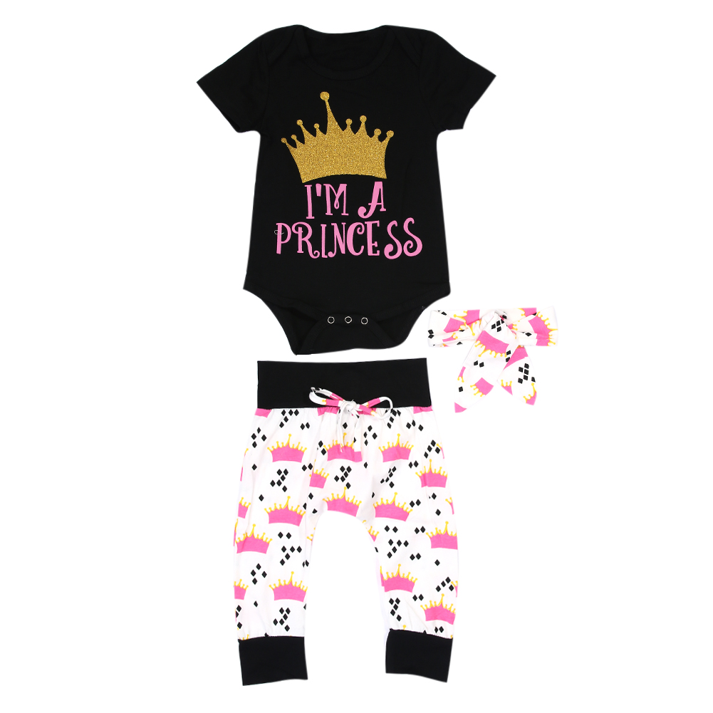 Newborn Baby Girls Clothes Crown Print Rompers + Pants + Headband 3pcs Outfits Set Summer Cotton Baby Girl Clothing
