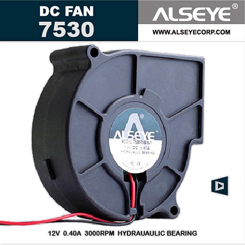 ALSEYE 75mm Blower Fan 12v 0.3A 3000RPM DC Cooling Fan Cooler, Electrical Appliances Radiator Fan 75x75x30mm 1pc dc 12v 50mm blower cooling fan hotend extruder turbine fan for 3d printer cooling radiator fan turbo blower fan