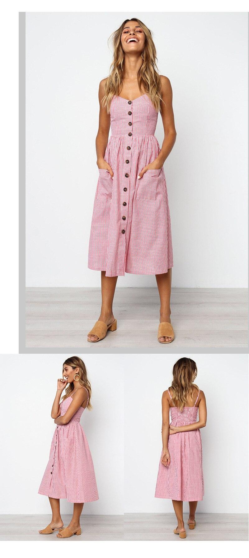 Button Striped Print Cotton Linen Casual Summer Dress 19 Sexy Spaghetti Strap V-neck Off Shoulder Women Midi Dress Vestidos 7