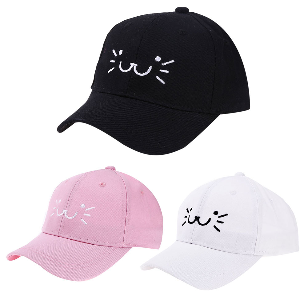 Casual Fashion Cute Baby Cartoon Katt Smilende Face Snapback Hat Unisex Kids Baseball Cap Baby Girl Boy Sun Hat Infant Cap