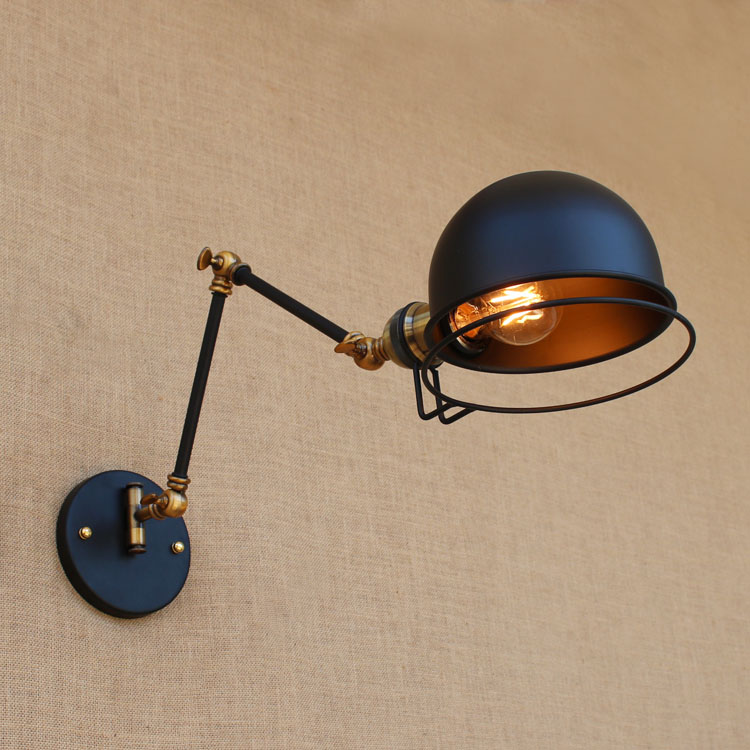 Brass Adjustable Long Arm Wall Lamp Vintage Wandlamp Edison Loft Style Industrial Wall Sconce Apliques LED Luminaire Arandela iwhd adjustable long arm wall lamp vintage rh loft style edison industrial wall sconce arandela de parede wandlampen