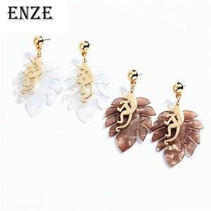 ENZE женские модные новые серьги с листьями кота, сплав, маленькие серьги с животными, ювелирные аксессуары для девочек, eENZEuisite, праздничный по...