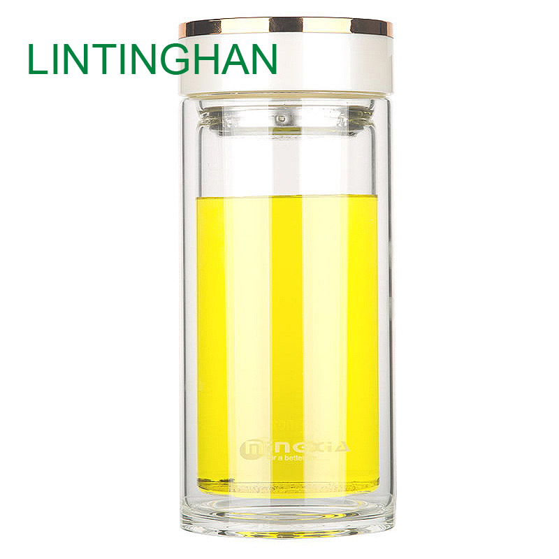 Double glass crystal transparent water car filter tea cup with lid household portable large capacity