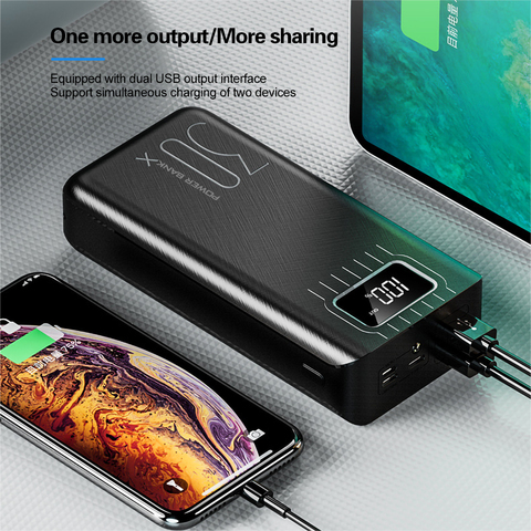 2USB LED Power Bank 30000mAh Portable Charging Powerbank For iPhone Xiaomi Samsung Huawei Poverbank Pack Charge External Battery Lahore