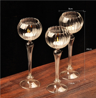 Dining Table Solid Crystal Flower Shape Candlestick Transparent Glass Candle Holder Christmas Wedding Pary Decoration