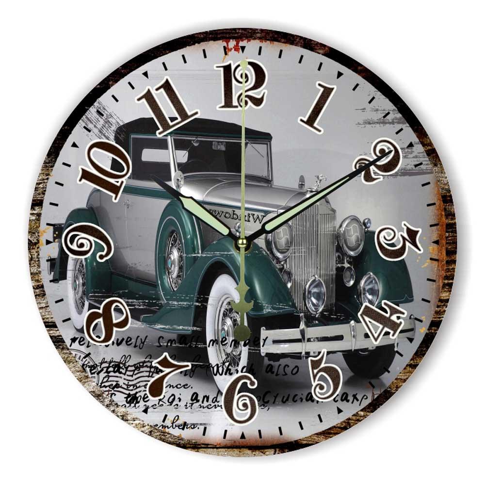 Antique Car More Silent Wall Clock Modern Design Warranty 3 Years