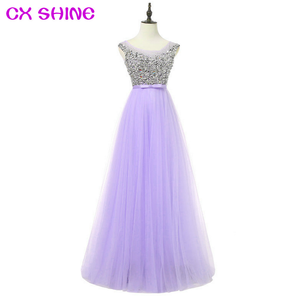 5cea410f69f1 CX SHINE Custom Färg Rosa Blå Lila Beading Pallinerna långa  kvällsklänningar Klänning de Soiree Prom Party .
