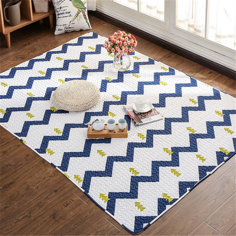 3 tailles coton mat floral géométrique impression salle à manger tapis couverture antidérapant 6mm 1.5 m/1.8 m/2.1 m bébé enfants playmat enfant tapis