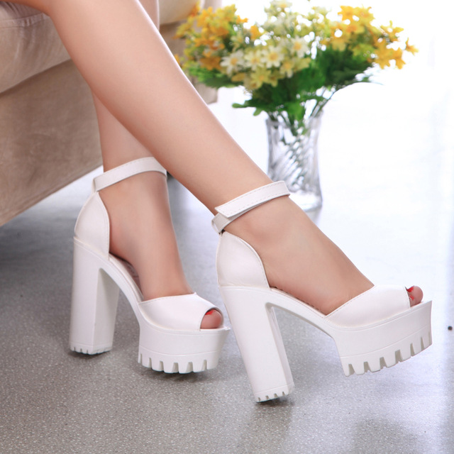 Shoes woman sandal 2018 fashion solid color sexy PU peep toe High heel platform summer s ...
