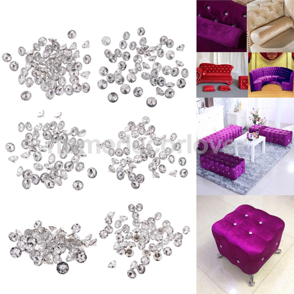 50pcs Glass Crystal Buttons For Sofa Headboard Upholstery DIY Decoration