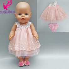 Doll dress for 43cm born bebe born doll clothes lace dress with underwear for 18 inch girl doll pink dress(China)