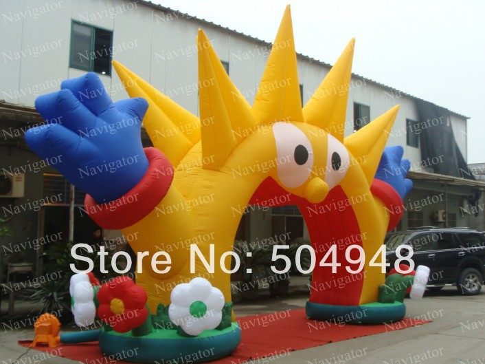 2015 New Inflatable Decoration Sun Arch commercial sea inflatable blue water slide with pool and arch for kids