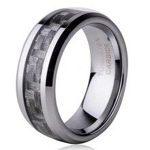 Бесплатная доставка 8 мм серый углеродного волокна inlay tungsten carbide rings комфорт Fit мужская Обручальное кольцо Размер 7 8 9 10 11 12 WTU008R