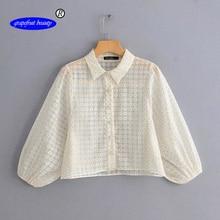 Grapefruit beauty Elegant ruffle white blouse women summer embroidery lace cotton shirt Vintage ladies tops blusas