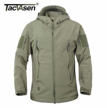 TACVASEN Army Camouflage Men Jacket Military Tactical Jacket Men Fleece Softshell Waterproof Windproof Hunt Airsoft Jacket Coat