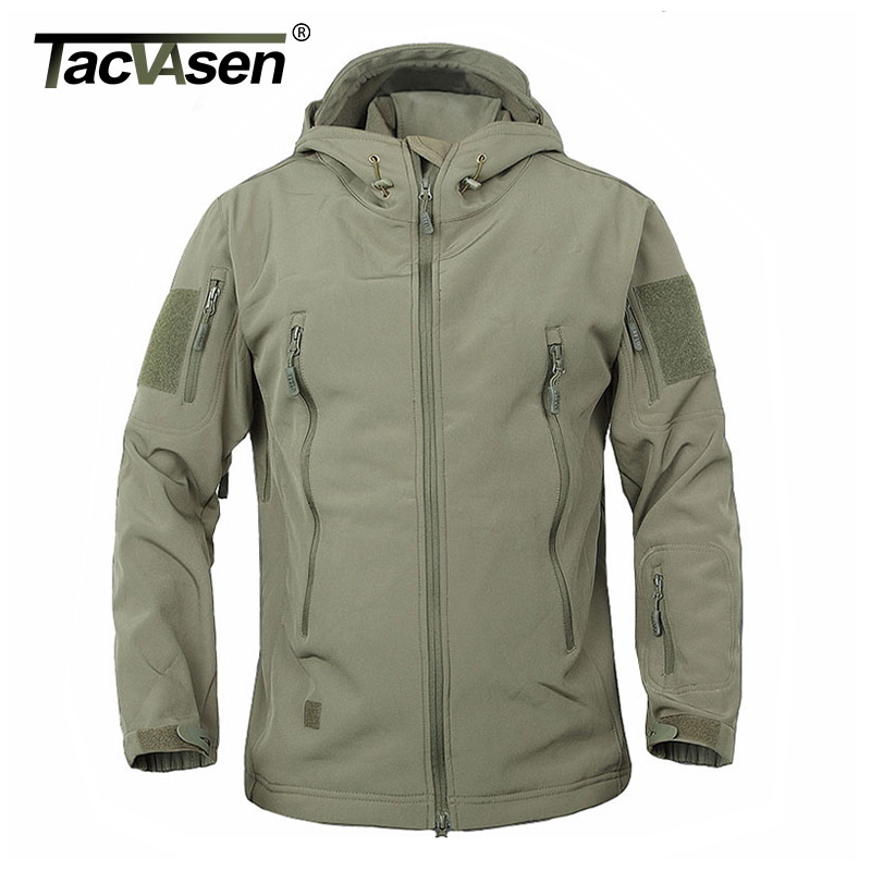 TACVASEN Army Camouflage Coat Military Tactical Jacket Men Soft Shell Waterproof Windproof Jacket Coat Plus Size