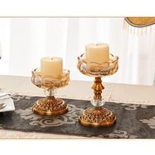 Europe crystal glass candle holders home decor candlestick wedding centerpieces holder candelabra porta velas decorativas