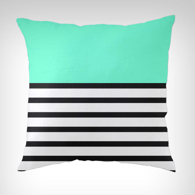 Blue And Black Pillows Part - 20: Modern Blue Decoration Turquoise Mint Blue Black And White Striped Throw  Pillow Cases Cushion Cover Decorative