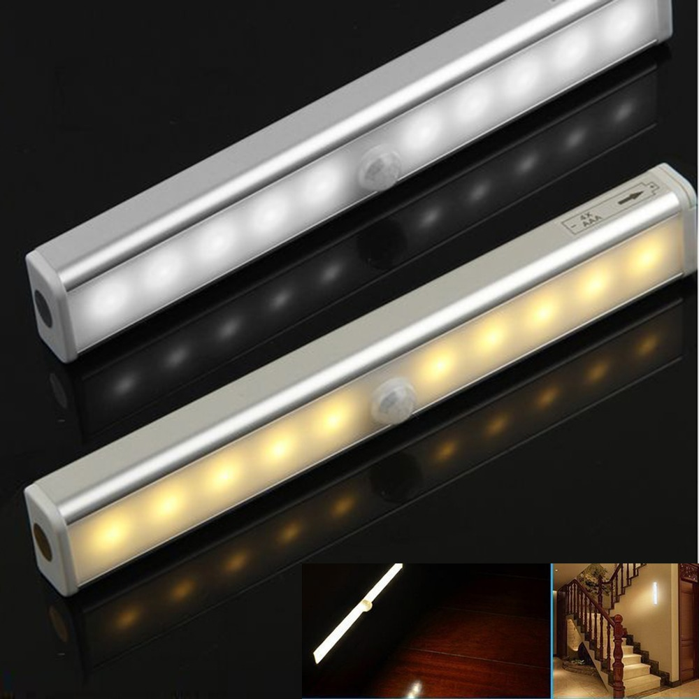 10 LED Motion Sensor Under Cabinet Light Bar Closet Home Bedroom Counter Lamp Warm White/ Cool White Choose