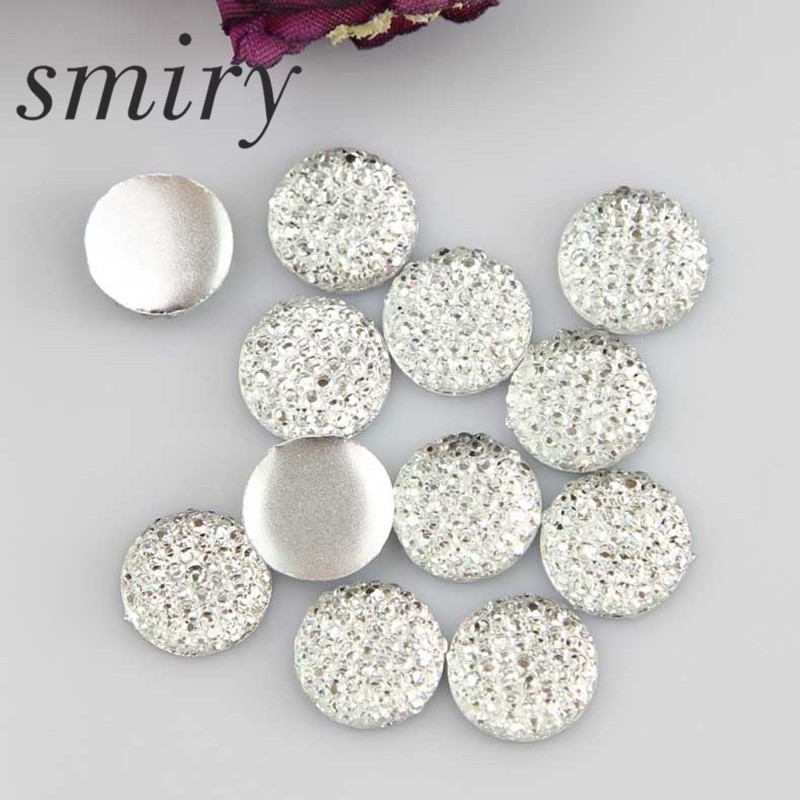 smiry Hot Sale 40Pcs 10mm Mineral Surface Flatback Round Resin Gypsophila DIY Craft Clothes,Bag, Shoes Decoration Wholesale ...