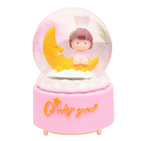 Creative Resin Crafts Zakka Moon Girl with Lights Rotating Snow Crystal Ball Music Box Water Polo Birthday Gifts for Children