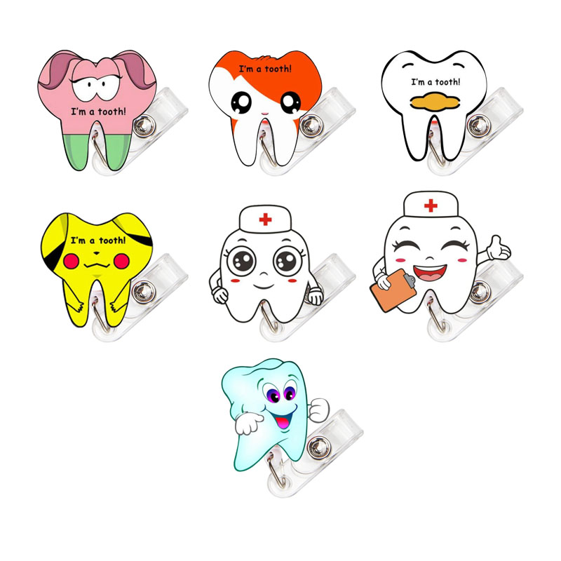 7 Pcs/lot Acrylic Retractable Badge Reel 2019 New Dentist Exihibiton ID Name Card Badge Holder Office Supplies K023