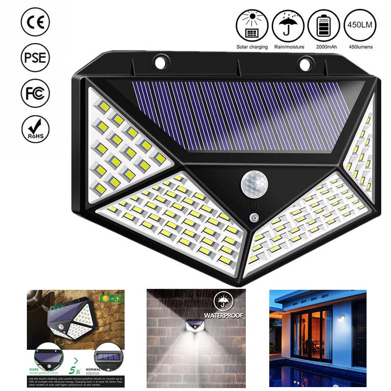 100/114 LED Solar Light PIR Motion Sensor Outdoor 3 Modes Solar Wall Lamp IP65 Waterproof Energy Saving Security Garden Yard Lig