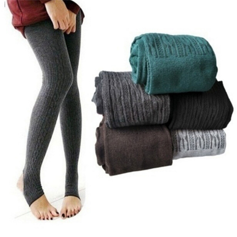 Women Winter Warm Leggings Skinny Stretch Fleece Pants Casual Faux Velvet Ankle-length Legging Knitted Thicken Slim Winter Pants
