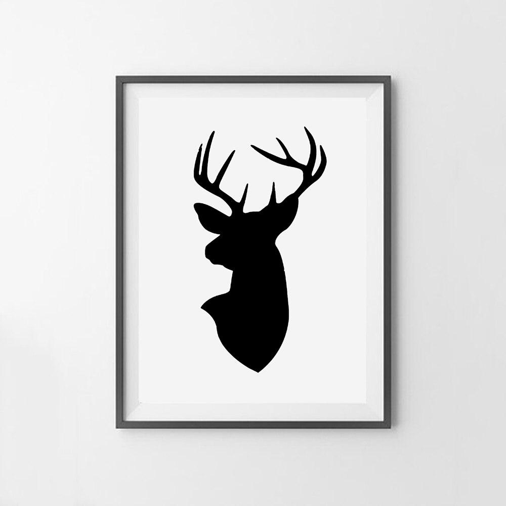 image relating to Printable Antlers named US $5.02 25% OFFDeer Kepala Dinding Seni Antlers Derr Printable Seni Moderen Deer Cetak Rusa Hitam Kanvas Seni Lukisan Gambar Di Dinding dekorasi