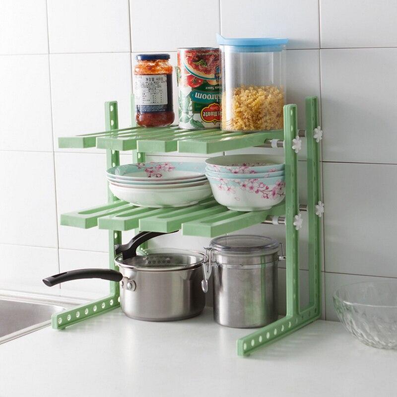 Multifunctional Double Layer Storage Shelves Adjustable Stainless Steel Kitchen Shelf Bathroom Racks Telescopic Storage Holder