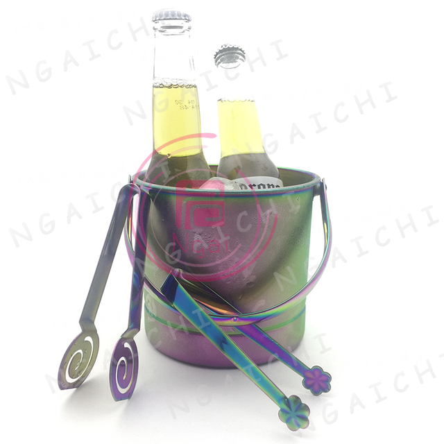 Ice Bucket Set Bar Tool Rainbow Stainless Steel Buckets Tray With Tongs Barware Cold