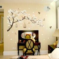 Beyaz Çiçekler Siyah Ağacı Gövde Duvar Sticker TV Arkaplan Duvar Duvar Posteri Sanat Uçan Kuşlar Birdcage Duvar Kağıdı Posteri Sanat Alıntı