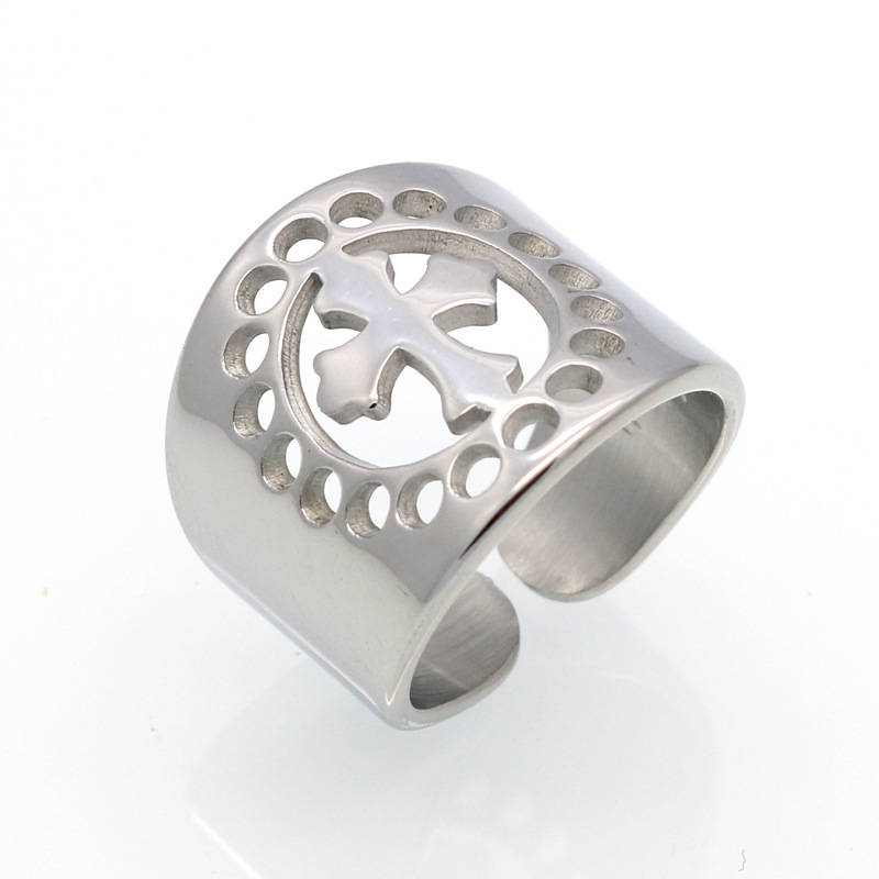 New Fashion Women Men Wide Gold Silver Plated Stainless Steel Flower Hearts Hollow Rpund Cross Rings Jewelry For A Gift